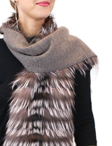 LAYERED SILVER FOX FUR & KNITTED CASHMERE SCARF - from THE REAL FUR DEAL & DAVID APPEL FURS new and pre-owned online fur store!