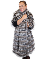 LAYERED SILVER FOX FUR AND GRAY KNITTED CASHMERE WRAP, SHAWL - from THE REAL FUR DEAL & DAVID APPEL FURS new and pre-owned online fur store!