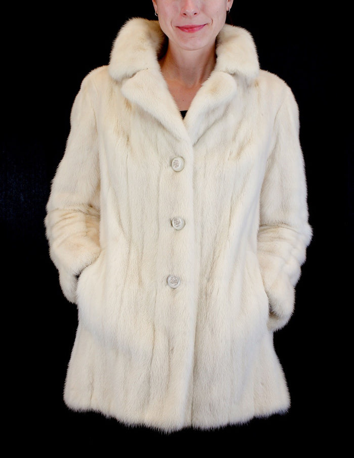 PRE-OWNED MEDIUM LIGHT BEIGE MINK FUR JACKET WITH CUTE FLORAL BUTTONS! - from THE REAL FUR DEAL & DAVID APPEL FURS new and pre-owned online fur store!