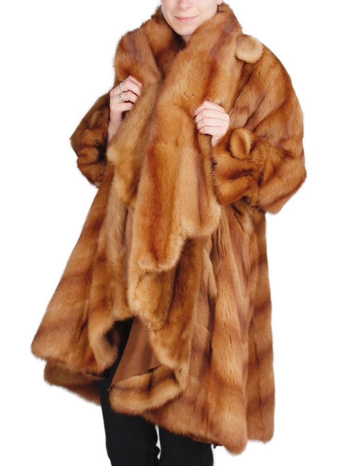 PRE-OWNED XL KOLINSKY MINK FUR CAPE COAT, LIGHT REDDISH BROWN - from THE REAL FUR DEAL & DAVID APPEL FURS new and pre-owned online fur store!