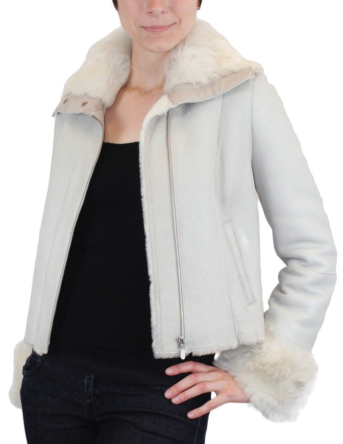 SMALL/MEDIUM LIGHT GRAY OFF WHITE SHEARLING FUR SHEEPSKIN LEATHER MOTORCYCLE JACKET - from THE REAL FUR DEAL & DAVID APPEL FURS new and pre-owned online fur store!