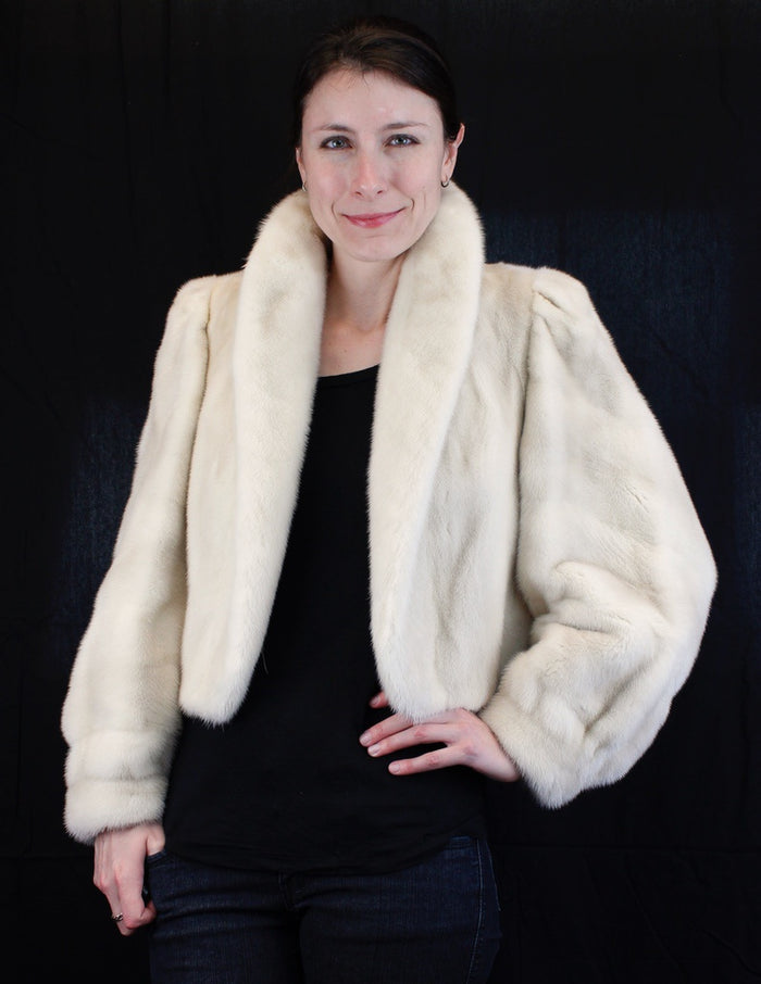 PRE-OWNED MEDIUM LIGHT MINK FUR SHORT BOLERO JACKET - TOP QUALITY FUR! - from THE REAL FUR DEAL & DAVID APPEL FURS new and pre-owned online fur store!