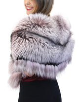 LIGHT PINK LILAC DYED SILVER FOX FUR COLLAR/SHAWL/WRAP - from THE REAL FUR DEAL & DAVID APPEL FURS new and pre-owned online fur store!