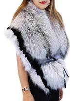 LIGHT PURPLE LAVENDER DYED SILVER FOX FUR & RABBIT FUR COLLAR/SHAWL/WRAP - from THE REAL FUR DEAL & DAVID APPEL FURS new and pre-owned online fur store!
