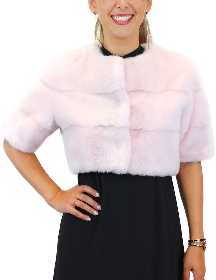 <b>LILLY E LIOLETTA</b> - PINK HORIZONTAL SHORT MINK FUR BOLERO JACKET - from THE REAL FUR DEAL & DAVID APPEL FURS new and pre-owned online fur store!