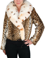 MEDIUM LIPI CAT FUR JACKET WITH LARGE LYNX-DYED FOX FUR COLLAR - from THE REAL FUR DEAL & DAVID APPEL FURS new and pre-owned online fur store!
