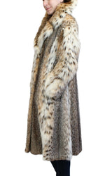 PRE-OWNED MEDIUM AMERICAN LYNX FUR LONG FITTED COAT w/ LARGE NOTCH COLLAR! - from THE REAL FUR DEAL & DAVID APPEL FURS new and pre-owned online fur store!