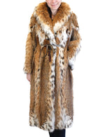 PRE-OWNED LARGE AMERICAN LYNX FUR LONG COAT - AMAZING NATURAL REDDISH COLOR! - from THE REAL FUR DEAL & DAVID APPEL FURS new and pre-owned online fur store!