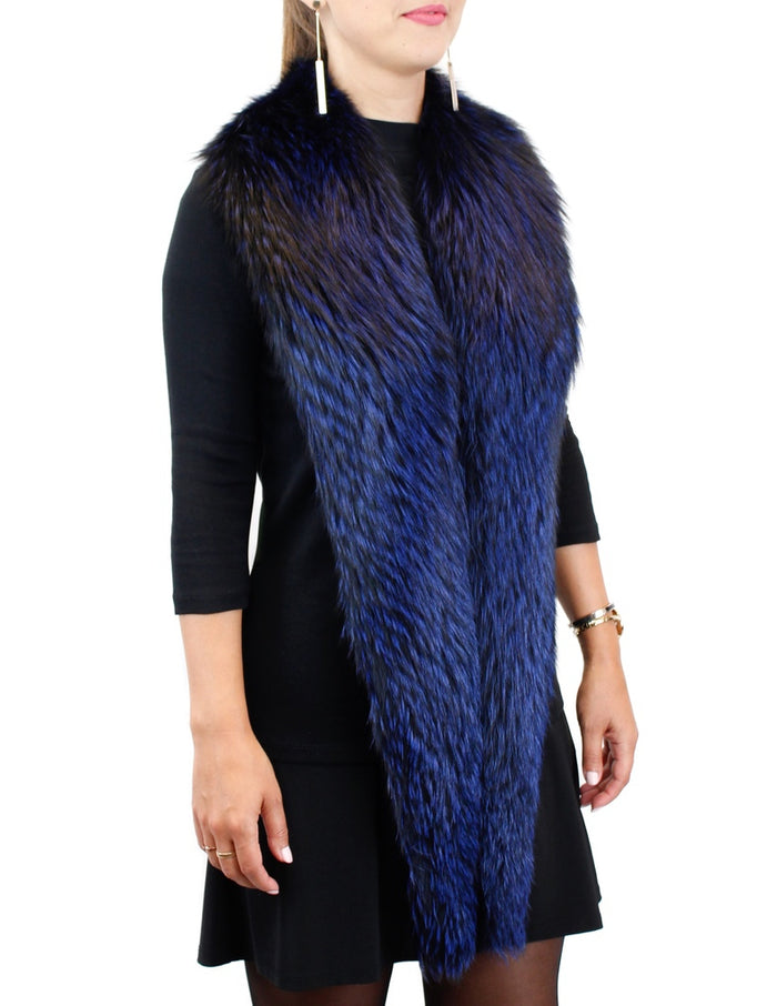 LONG BLUE DYED FOX FUR COLLAR, SCARF - from THE REAL FUR DEAL & DAVID APPEL FURS new and pre-owned online fur store!