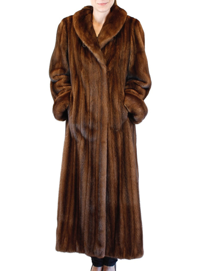 PRE-OWNED LARGE LONG BROWN LUNARAINE MINK FUR COAT - FEMALE, FULLY LET OUT - from THE REAL FUR DEAL & DAVID APPEL FURS new and pre-owned online fur store!