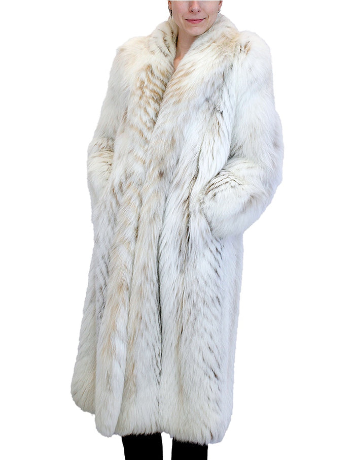 PRE-OWNED LARGE CHEVRON CUT NORWEGIAN FOX & LYNX FUR COAT - from THE REAL FUR DEAL & DAVID APPEL FURS new and pre-owned online fur store!