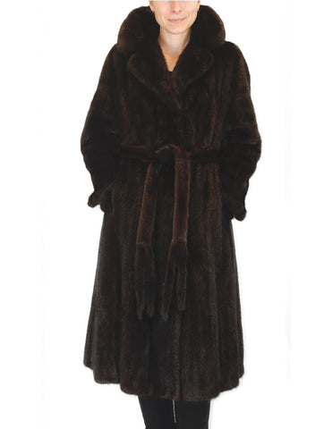 PRE-OWNED SMALL/MEDIUM BULLOCK'S DARK MINK FUR COAT W/ FUR BELT! - SILKY SOFT!! - from THE REAL FUR DEAL & DAVID APPEL FURS new and pre-owned online fur store!