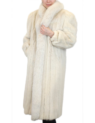 PRE-OWNED MEDIUM LIGHT BEIGE LONG MINK FUR COAT W/ FOX FUR TRIM, HORIZONTAL SLEEVES - from THE REAL FUR DEAL & DAVID APPEL FURS new and pre-owned online fur store!