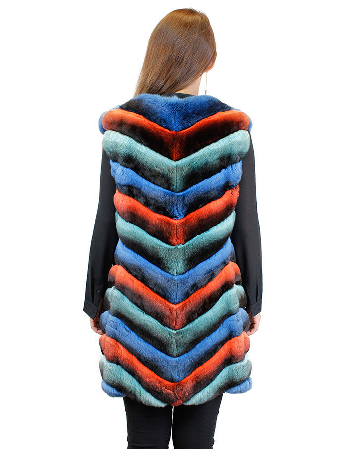 LONG MULTICOLOR CHEVRON CUT CHINCHILLA FUR VEST - from THE REAL FUR DEAL & DAVID APPEL FURS new and pre-owned online fur store!