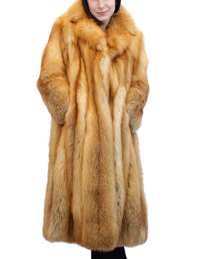 PRE-OWNED MEDIUM RED FOX FUR ⅞ COAT WITH NOTCH COLLAR! - from THE REAL FUR DEAL & DAVID APPEL FURS new and pre-owned online fur store!