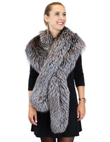 LONG SILVER FOX FUR COLLAR, CROSSOVER SCARF - from THE REAL FUR DEAL & DAVID APPEL FURS new and pre-owned online fur store!