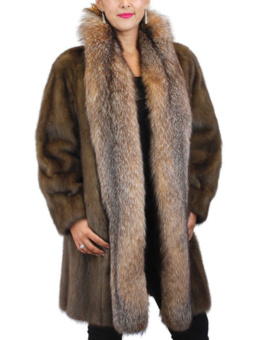 PRE-OWNED MEDIUM/LARGE LUNARAINE MINK FUR COAT w/ CRYSTAL FOX FUR TRIM! JACKET