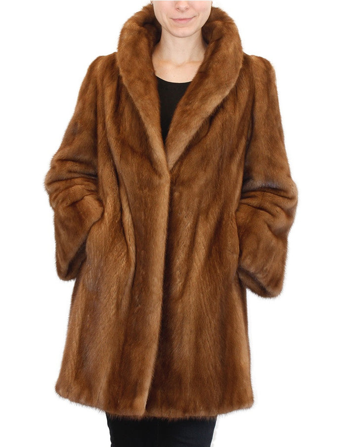 PRE-OWNED LARGE DARK PASTEL/WILD-TYPE MINK FUR COAT! BEAUTIFUL BROWN COLOR! - from THE REAL FUR DEAL & DAVID APPEL FURS new and pre-owned online fur store!