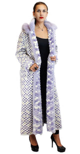 PRE-OWNED - NEVER WORN! - XL LONG PURPLE & WHITE MINK AND FOX FUR <b>REVERSIBLE</b> HOODED COAT - from THE REAL FUR DEAL & DAVID APPEL FURS new and pre-owned online fur store!