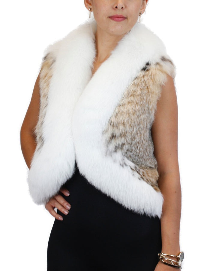 NATURAL MONTANA LYNX FUR VEST WITH WHITE SHADOW FOX FUR TRIM - from THE REAL FUR DEAL & DAVID APPEL FURS new and pre-owned online fur store!