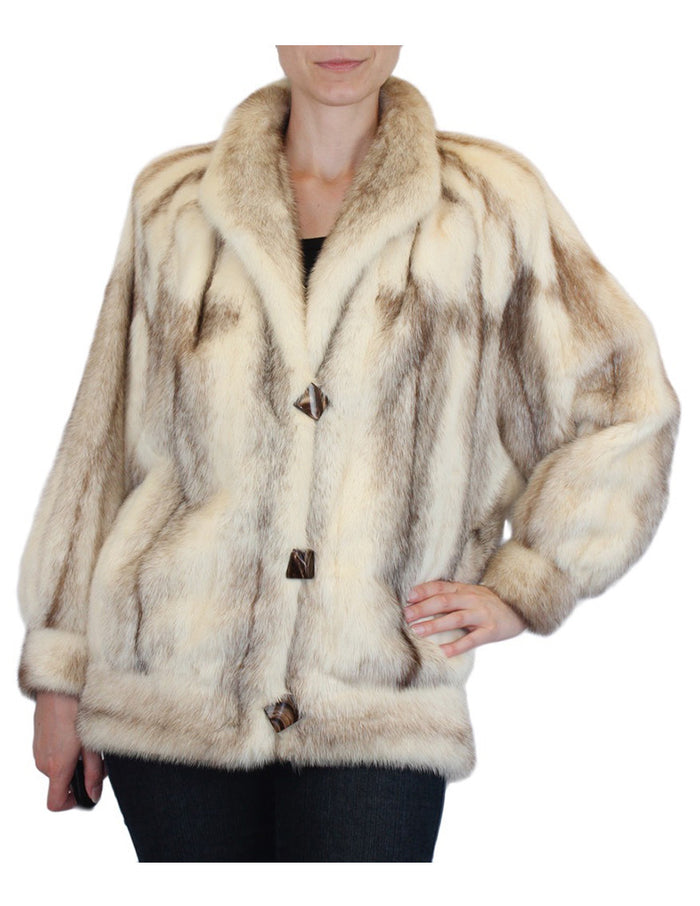 PRE-OWNED MEDIUM/LARGE BROWN CROSS MINK FUR JACKET WITH BATWING SLEEVES - from THE REAL FUR DEAL & DAVID APPEL FURS new and pre-owned online fur store!