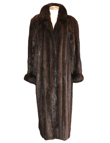 PRE-OWNED MEDIUM/LARGE LONG HAIR BEAVER FUR COAT, DARK BROWN, MENS OR WOMENS