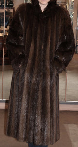 PRE-OWNED MEDIUM/LARGE LONG HAIR BEAVER FUR COAT, DARK BROWN, MENS OR WOMENS - from THE REAL FUR DEAL & DAVID APPEL FURS new and pre-owned online fur store!
