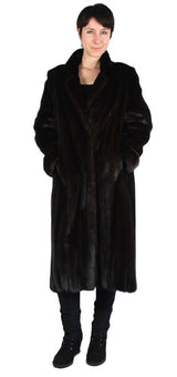 PRE-OWNED MEDIUM/LARGE DARK MINK FUR COAT - LONG SLEEVES & ROLL-UP CUFFS! - from THE REAL FUR DEAL & DAVID APPEL FURS new and pre-owned online fur store!