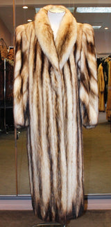 PRE-OWNED MEDIUM/LARGE LONG NATURAL FITCH FUR COAT - BEAUTIFUL MARKINGS & CONTRAST! - from THE REAL FUR DEAL & DAVID APPEL FURS new and pre-owned online fur store!