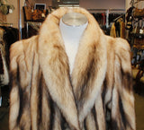 PRE-OWNED MEDIUM/LARGE LONG NATURAL FITCH FUR COAT - BEAUTIFUL MARKINGS & CONTRAST!