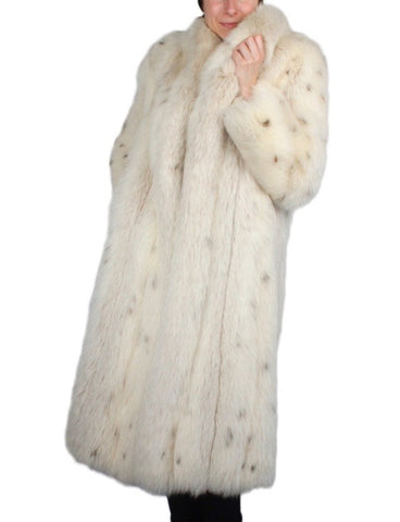 PRE-OWNED MEDIUM LONG LYNX-DYED FOX FUR COAT - THICK & SOFT!