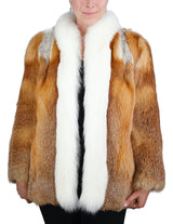PRE-OWNED MEDIUM/LARGE RED FOX FUR JACKET WITH SHADOW FOX TRIM