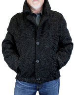 MEN'S BLACK PERSIAN LAMB FUR BOMBER JACKET - from THE REAL FUR DEAL & DAVID APPEL FURS new and pre-owned online fur store!