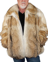 MEN'S XL COYOTE FUR BOMBER JACKET! THICK, WARM! - from THE REAL FUR DEAL & DAVID APPEL FURS new and pre-owned online fur store!