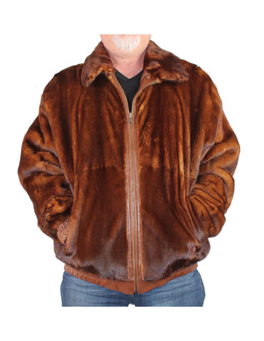 MEN'S PRE-OWNED XL REVERSIBLE WHISKY MINK FUR & LEATHER JACKET