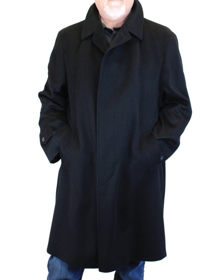 MEN'S BLACK 100% CASHMERE LIGHTWEIGHT COAT - from THE REAL FUR DEAL & DAVID APPEL FURS new and pre-owned online fur store!