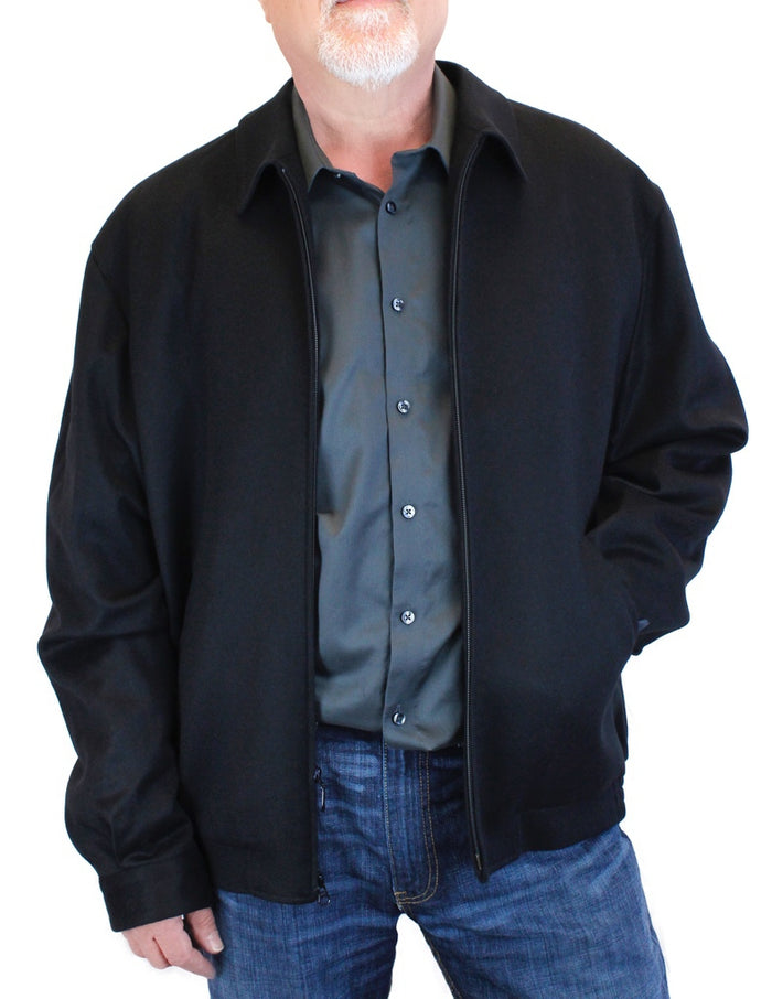 MEN'S BLACK 100% CASHMERE LIGHTWEIGHT BOMBER JACKET - from THE REAL FUR DEAL & DAVID APPEL FURS new and pre-owned online fur store!