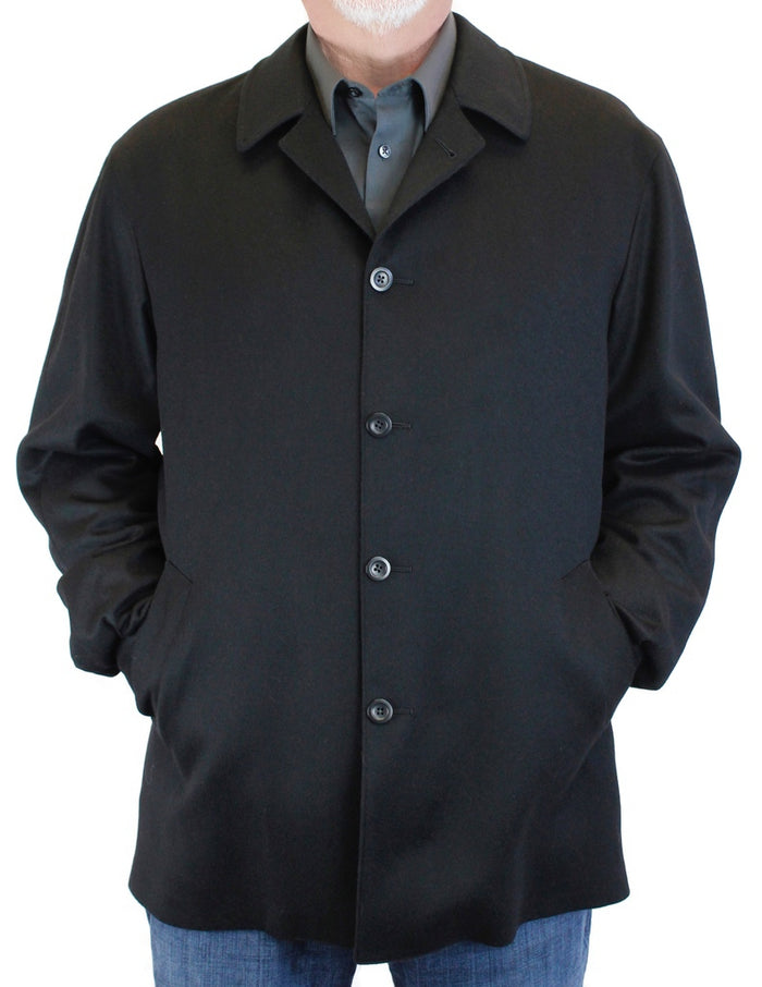MEN'S BLACK 100% CASHMERE LIGHTWEIGHT SHIRT-STYLE JACKET - from THE REAL FUR DEAL & DAVID APPEL FURS new and pre-owned online fur store!