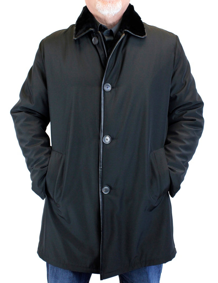 <b>DI BELLO</b> - MEN'S BLACK MERINO SHEARLING-LINED BUTTONED RAINCOAT, RAIN COAT - from THE REAL FUR DEAL & DAVID APPEL FURS new and pre-owned online fur store!
