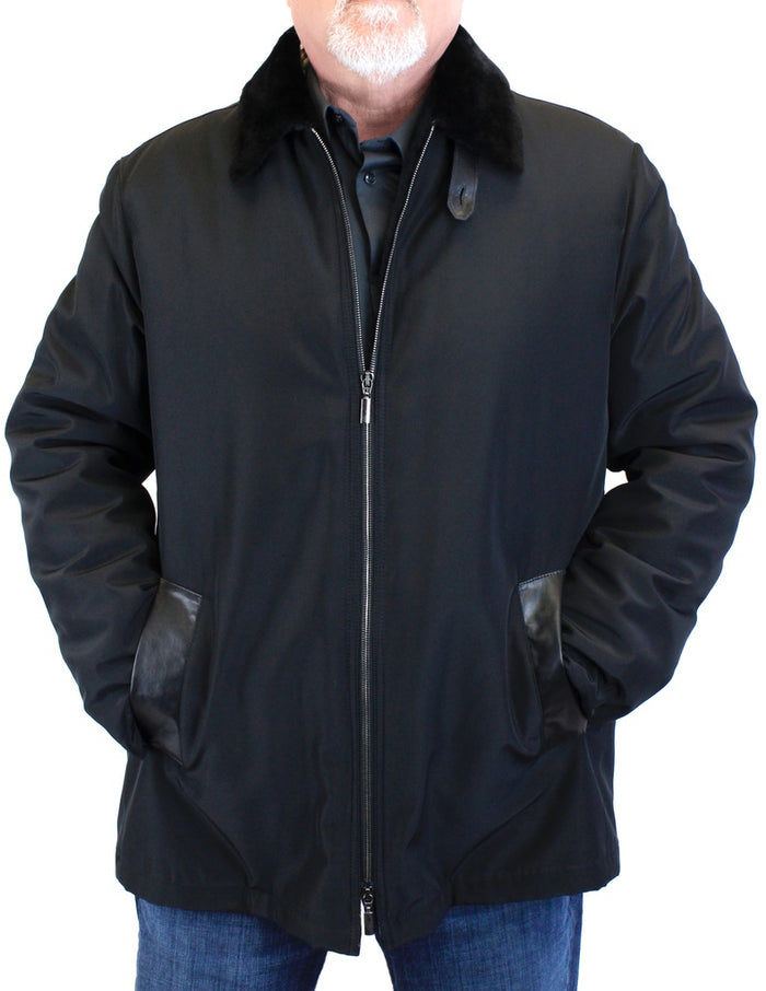 <b>DI BELLO</b> - MEN'S BLACK MERINO SHEARLING-LINED RAIN JACKET, RAINCOAT - from THE REAL FUR DEAL & DAVID APPEL FURS new and pre-owned online fur store!