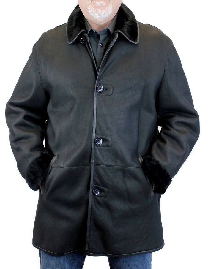 <b>DI BELLO</b> - MEN'S BLACK SHEARLING COAT, SHEEPSKIN LEATHER - from THE REAL FUR DEAL & DAVID APPEL FURS new and pre-owned online fur store!