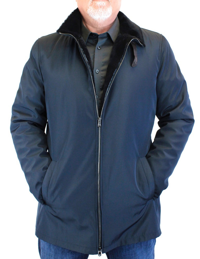 <b>DI BELLO</b> - MEN'S NAVY BLUE MERINO SHEARLING-LINED RAIN JACKET, RAINCOAT - from THE REAL FUR DEAL & DAVID APPEL FURS new and pre-owned online fur store!