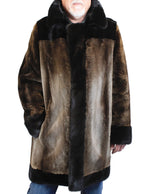 MEN'S PRE-OWNED LARGE BROWN SHEARED BEAVER FUR & MINK FUR COAT - from THE REAL FUR DEAL & DAVID APPEL FURS new and pre-owned online fur store!