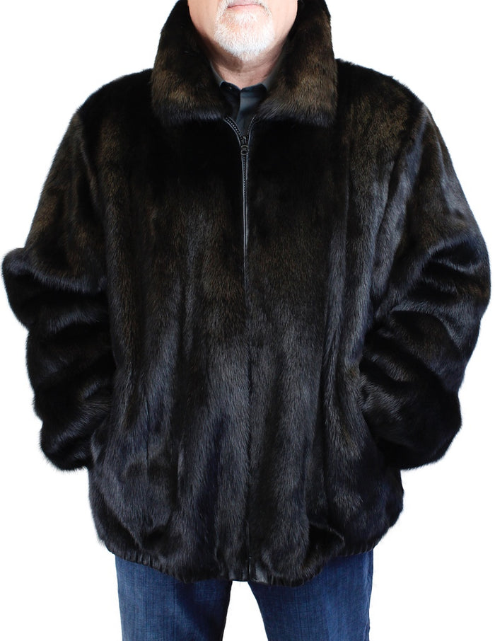 MEN'S <B>REVERSIBLE</B> DARK RANCH MINK FUR AND LEATHER BOMBER JACKET - from THE REAL FUR DEAL & DAVID APPEL FURS new and pre-owned online fur store!