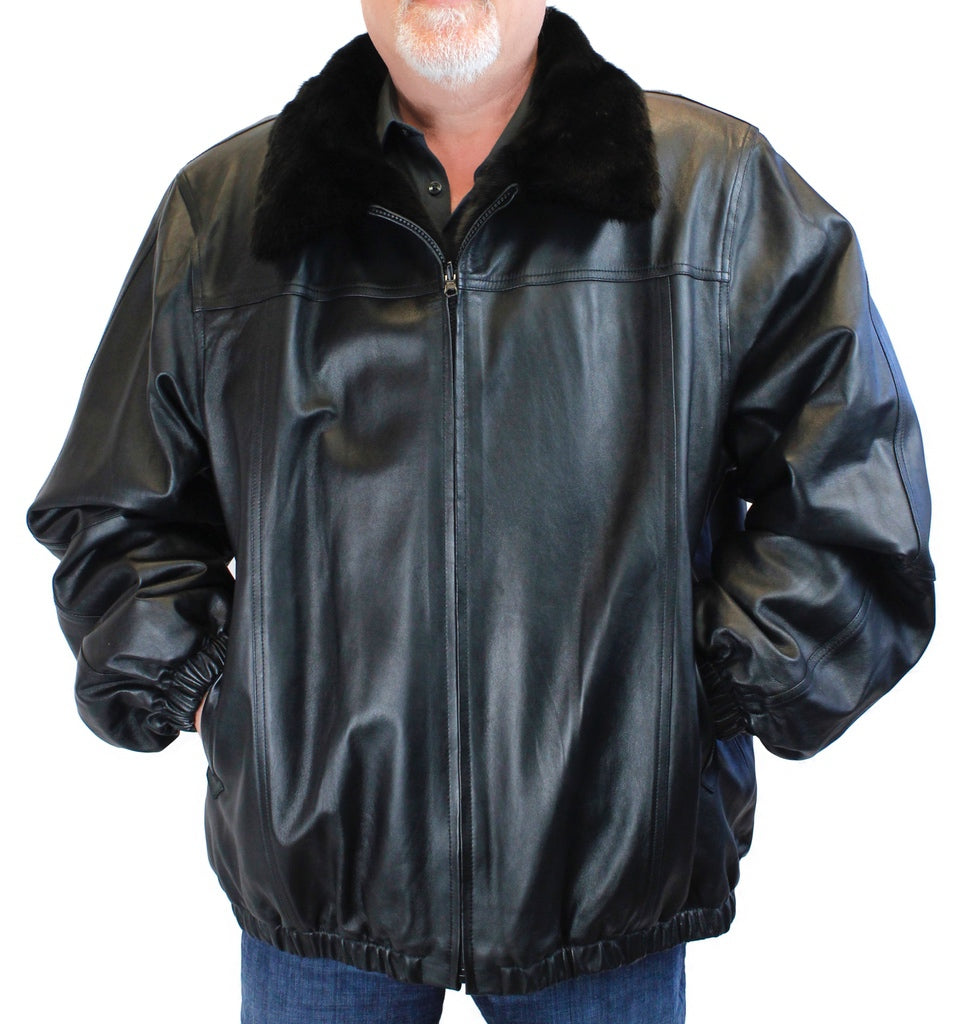 Men S Reversible Dark Ranch Mink Fur And Leather Bomber