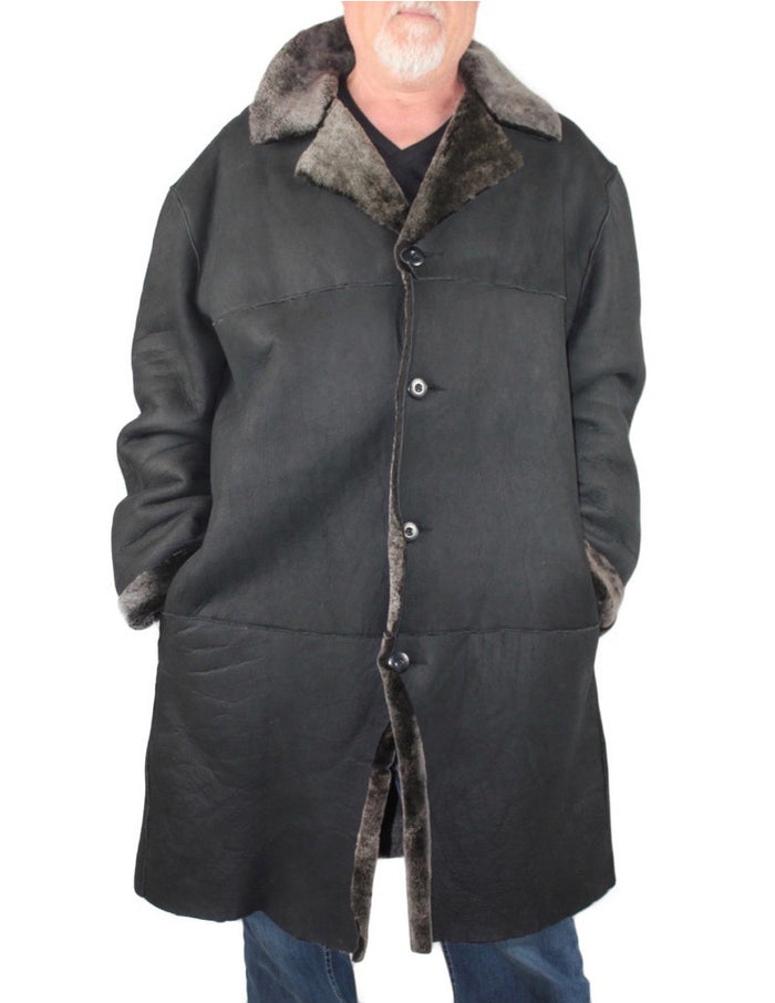 MEN'S PRE-OWNED XXL BLACK/GRAY SHEARLING LEATHER FUR COAT - BIG & COMFORTABLE! - from THE REAL FUR DEAL & DAVID APPEL FURS new and pre-owned online fur store!