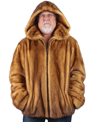 MEN'S PRE-OWNED XXL GOLDEN MINK FUR JACKET WITH REMOVABLE HOOD!