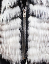 <b>RIZAL</b> - HOODED BLACK & WHITE FEATHERY LAYERED RACCOON FUR VEST - from THE REAL FUR DEAL & DAVID APPEL FURS new and pre-owned online fur store!