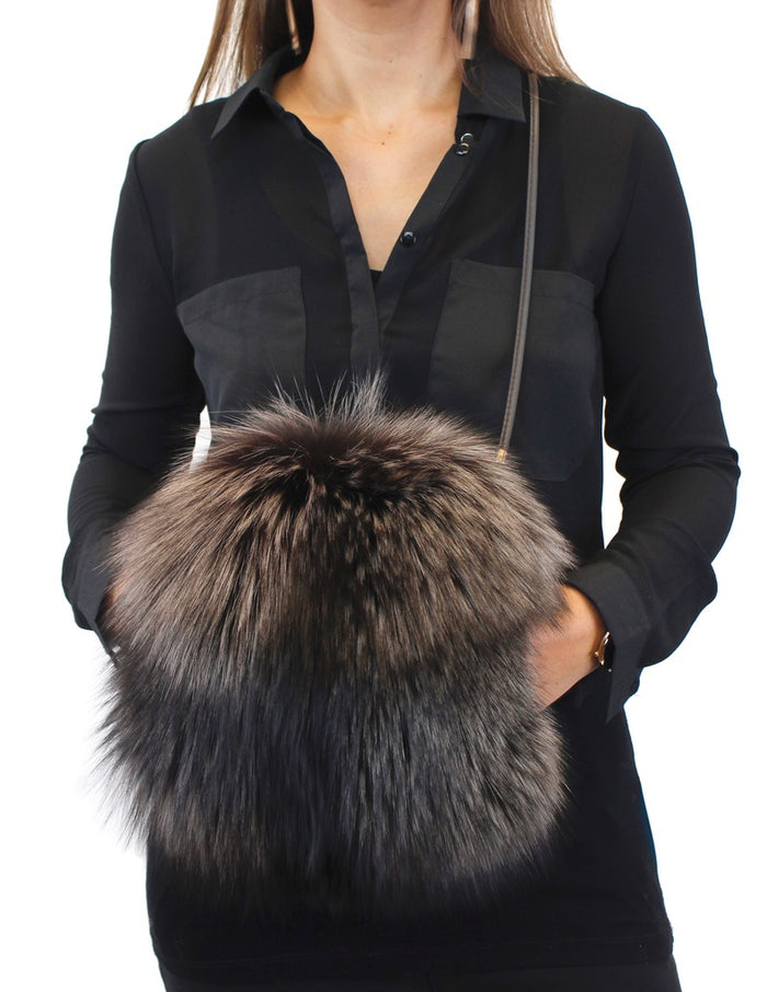 FROSTED DARK BROWN SILVER FOX FUR MUFF PURSE, BAG - from THE REAL FUR DEAL & DAVID APPEL FURS new and pre-owned online fur store!