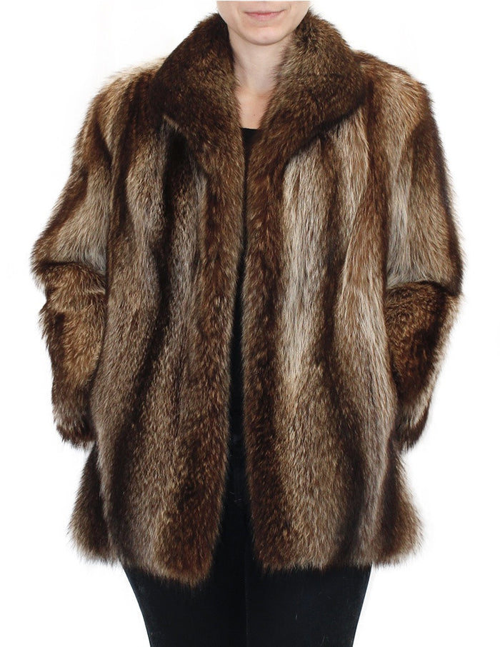 PRE-OWNED MEDIUM NATURAL RACCOON FUR JACKET! BEAUTIFUL MARKINGS! - from THE REAL FUR DEAL & DAVID APPEL FURS new and pre-owned online fur store!